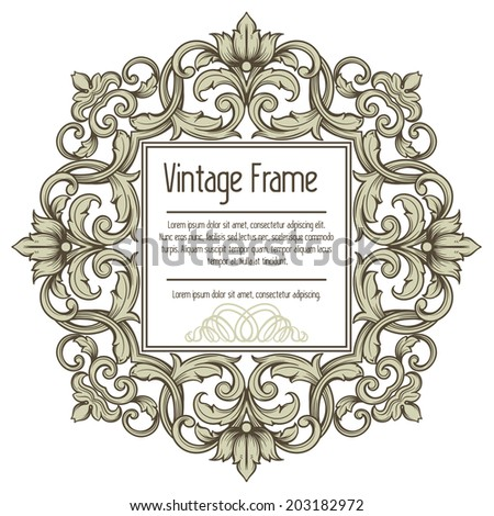 Vector vintage border frame engraving with retro ornament pattern in antique rococo style - stock vector