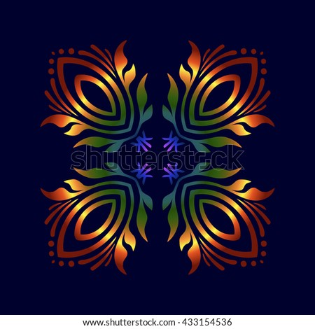 Frame with an embossed pattern in the rococo style stock illustration - Mandala Made Tree Leaves Body Silhouette Stock Vector