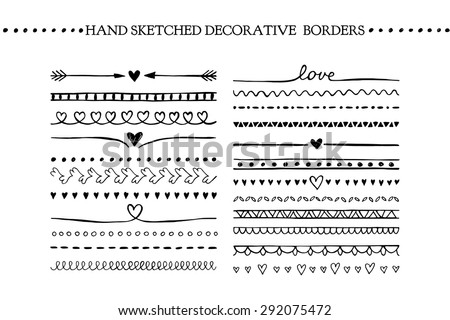 Vector vintage borders and scroll elements. Hand drawn vector design elements - stock vector