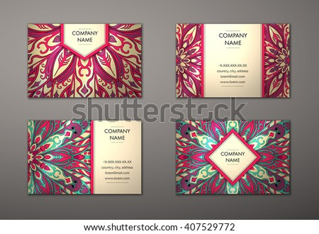 Vector vintage business card set floral stock vector 407529772 vector vintage business card set floral mandala pattern and ornaments oriental design layout reheart Gallery