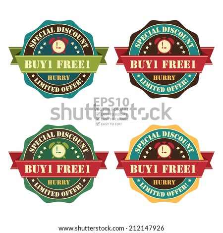 Vector : Vintage Buy 1 Free 1 Hurry Special Discount Limited Offer Icon, Badge, Sticker or Label Isolated on White Background  - stock vector