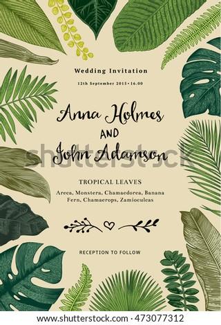 Vector vintage card wedding invitation botanical stock vector vector vintage card wedding invitation botanical illustration tropical leaves stopboris Images