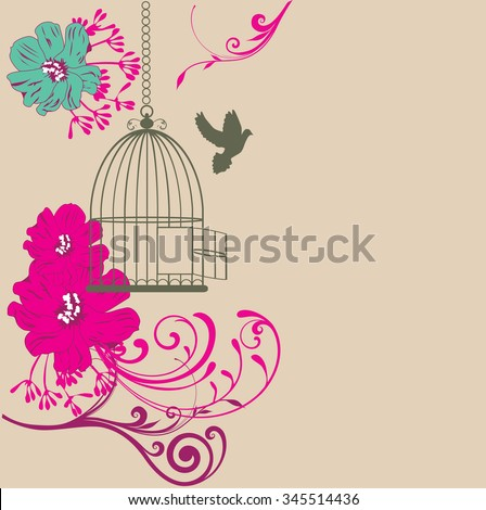 vector vintage card with flowers and bird cage open