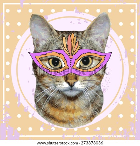 vector vintage cat with carnival mask - stock vector
