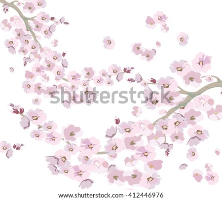 Vector Vintage Cherry flowers background. Illustration of cherry flowers for wedding, greeting cards, Valentine's day, birthday. Colorful spring background - stock vector