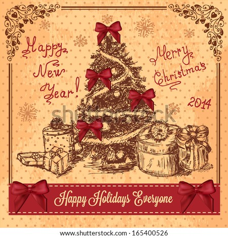 Vector Vintage Christmas Card for Holiday Design. - stock vector