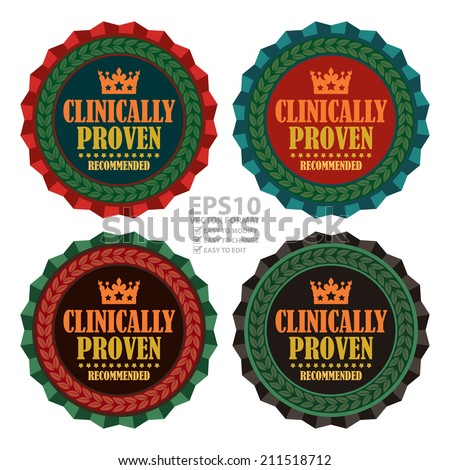 Vector : Vintage Clinically Proven Recommended Icon, Badge, Sticker or Label Isolated on White Background - stock vector