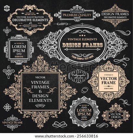 Vector vintage collection: Baroque, antique frames, labels, emblems, ornamental and calligraphic design elements for page decoration on a chalkboard background - stock vector