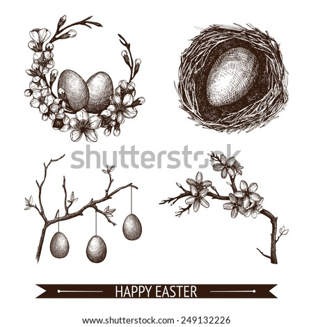 Vector vintage collection of hand drawn Easter illustrations isolated on white. Easter sketch set. - stock vector