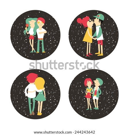 Vector vintage color set of romantic card with couple in love and space background - stock vector