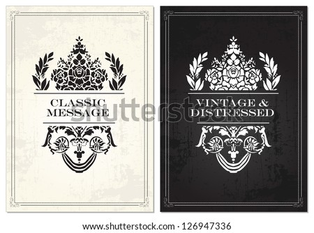 Vector Vintage Crown Frame Set. Easy to edit. Perfect for invitations or announcements. - stock vector