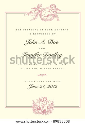 Vector Vintage Cupid Wedding Invitation. All pieces are separate, and easy to edit. - stock vector