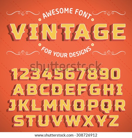 Vector Vintage 3D Font with shadow. Retro Alphabet with decorative elements - stock vector
