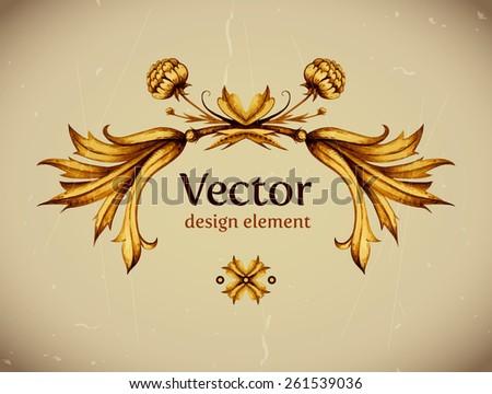 Vector vintage decor. Floral vector. Vintage label. Vintage frame. Retro style. Gold floral design element. High quality Vector illustration. Vintage decorative element. Frame. - stock vector