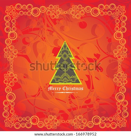 vector vintage decorative christmas tree on red christmas background / merry christmas card - stock vector