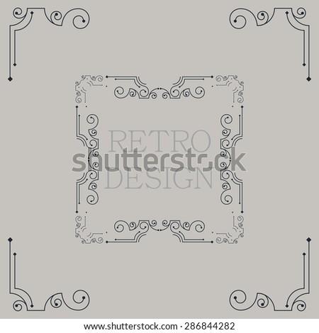 Vector vintage decorative frames. Retro design - stock vector