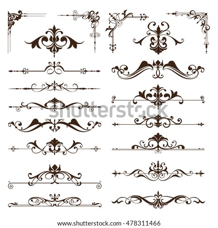 Vector vintage design elements set of ornaments Art deco curlicues, frames, borders, dividers, corners