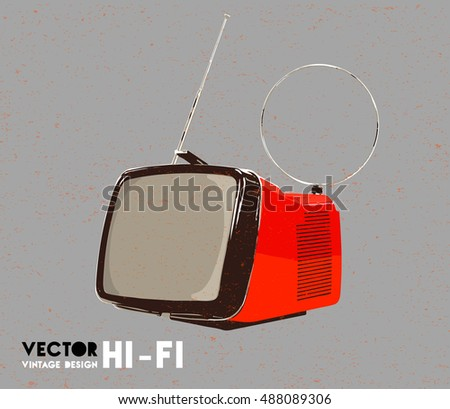 Vector Vintage Design Hi-Fi isolated on background. Tv, modern design from the sixties and the seventies. Red, orange television.