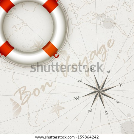 Vector vintage design - World map with wind rose and a lifeline. Travel background - stock vector