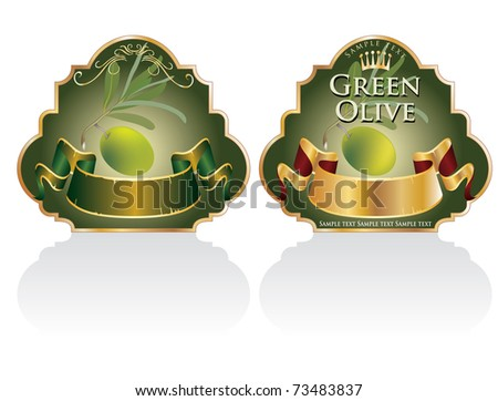 vector vintage designed labels for olive products - stock vector