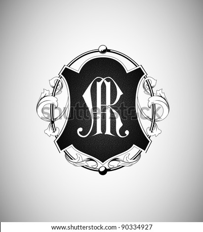 vector vintage emblem with monogram - stock vector