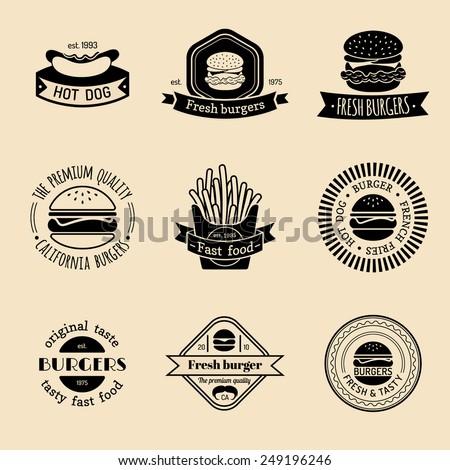 Vector vintage fast food logo set. Retro food logotypes collection - stock vector