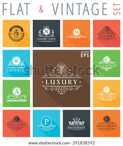 Vector vintage flat elements icons. Signs and Symbols collection with long shadow effect in stylish colors of web design objects. Luxury logo calligraphic elegant decor with ornament - stock vector