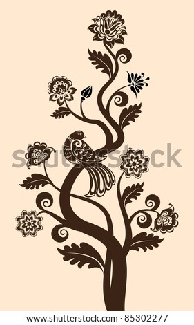 vector vintage floral background with decorative bird - stock vector