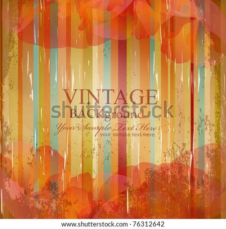 vector vintage flowers on the striped grunge background - stock vector