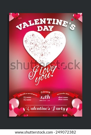 vector vintage flyer for Valentine's Day with a blurred background, can be used in the development of posters and invitation cards - stock vector