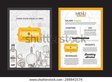 Cafe Menu Restaurant Brochure Food Design Stock Vector 287628731
