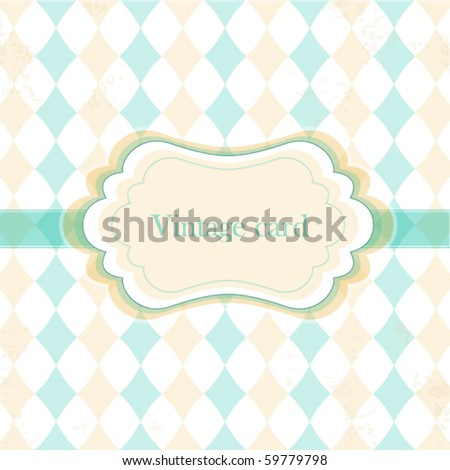 Vector vintage frame with rhombuses , greeting card - stock vector