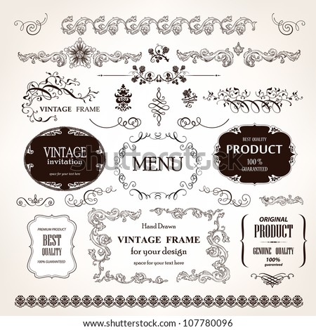 Vector vintage frames and design calligraphic elements set - stock vector