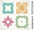 Vector vintage frames and vignettes in Victorian style. Ornate element for flat design, place for text. Ornamental lace pattern for wedding invitations and greeting cards. Traditional romantic decor. - stock vector
