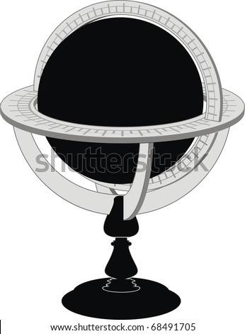 Vector vintage globe - isolated illustration on white background. - stock vector
