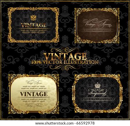 Vector vintage Gold black frames decor set label - stock vector