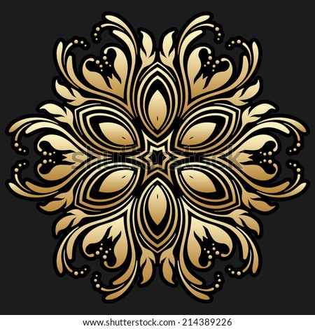 Vector vintage gold floral round pattern for print, embroidery. - stock vector