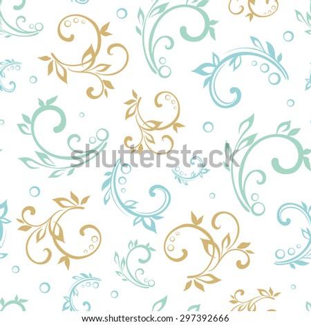 Vector Vintage Green Blue Beige Floral Swirls Seamless Pattern - stock vector