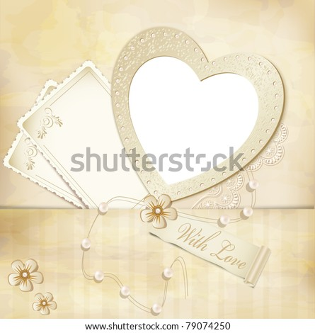 vector vintage, grunge background with frame for photos in the form of heart - stock vector