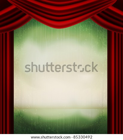 vector vintage grunge background with red curtains - stock vector