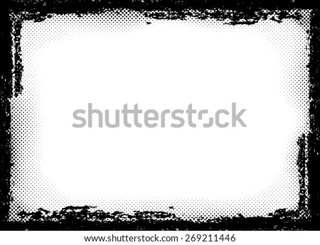 Vector Vintage Grunge Brush Stroke Dirty Overlay Distress Border Frame. Square in Grungy Style for your Design . Halftone Dots Overlay Texture . - stock vector