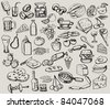 vector vintage hand drawn of food - stock vector