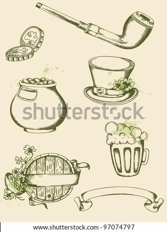 Vector vintage hand drawn  Saint Patrick's Day symbols - stock vector