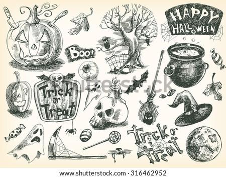 Vector Vintage Hand Drawn Sketch Halloween Set Pumpkin Eye Tree Candy