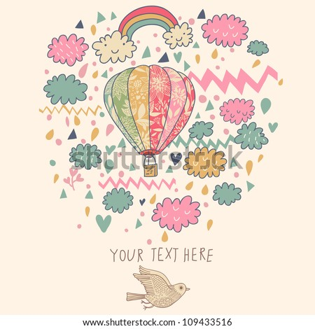 Vector Vintage Hot Air Balloon with Clouds. Cute Background Design. - stock vector