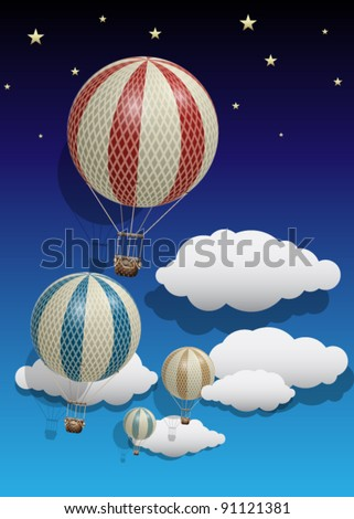 Vector Vintage Hot Air Balloons with Clouds and Stars - stock vector