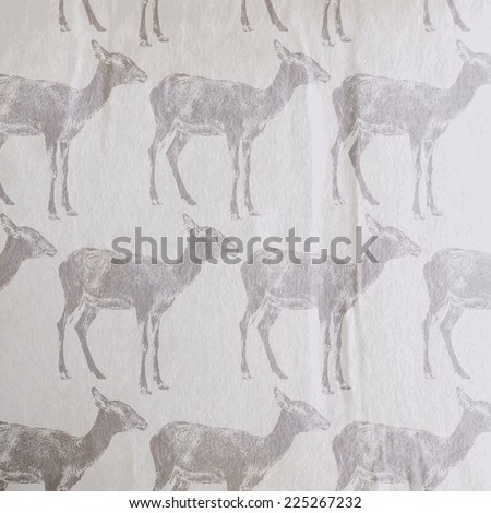 vector vintage illustration of an antelope or a goat pattern on the old wrinkled paper background - stock vector