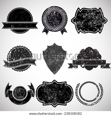 Vector Vintage Insignias Collection . Grunge Elements for your Design . Banners, Stamps, Logos, Icons, Labels and Badges Set . Set of Retro Frames for Emblems .  - stock vector