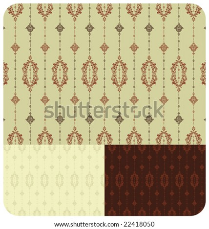 VECTOR Vintage inspired seamless wallpaper pattern - set of 3 colour schemes. - stock vector