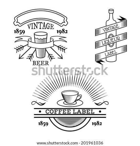 Vector vintage labels isolated on white, retro beverages labels - beer glass, wine bottle, tea or coffee cup with place for text ribbons - stock vector